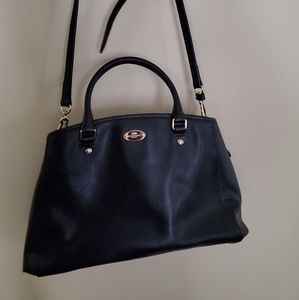Coach handbag satchel black large leather